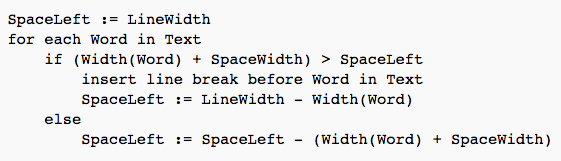 Word Wrap Algorithm